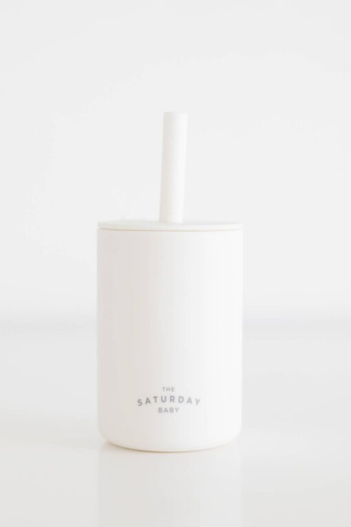 The Saturday Baby Silicone Straw Cup in Cloud