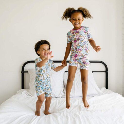 Little Sleepies Gray Sweet Treats Short Sleeve and Shorts Bamboo Viscose Pajama Set