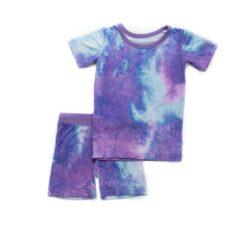 Little Sleepies Purple Watercolors Short Sleeve and Shorts Bamboo Viscose Pajama Set