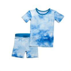 Little Sleepies Blue Watercolors Short Sleeve and Shorts Bamboo Viscose Pajama Set