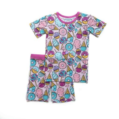 Little Sleepies Pink Sweet Treats Short Sleeve and Shorts Bamboo Viscose Pajama Set
