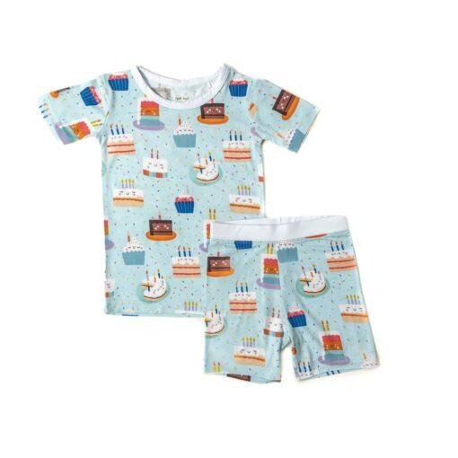 Little Sleepies Birthday Cakes Short Sleeve & Shorts Bamboo Viscose Two-Piece Pajama Set