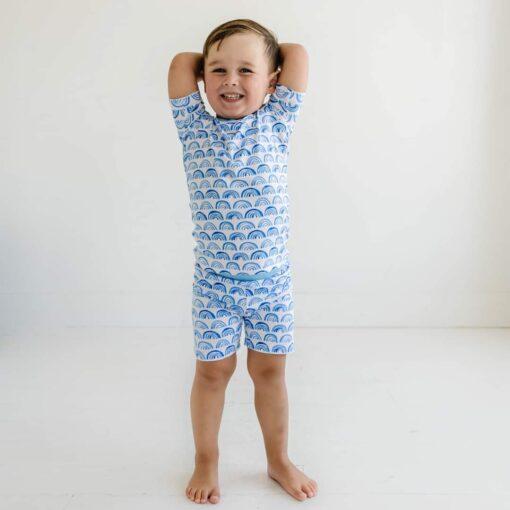 Little Sleepies Blue Rainbows Short Sleeve and Shorts Bamboo Viscose Pajama Set