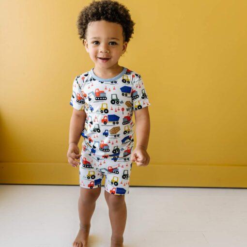 Little Sleepies Construction Short Sleeve and Shorts Bamboo Viscose Pajama Set