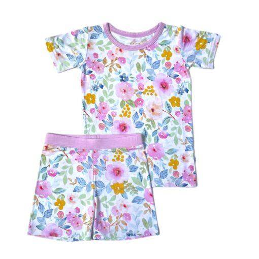 Little Sleepies Bella Blooms Short Sleeve and Shorts Bamboo Viscose Pajama Set