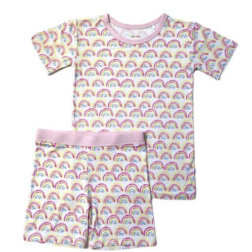 Little Sleepies Pastel Rainbows Short Sleeve and Shorts Bamboo Viscose Pajama Set