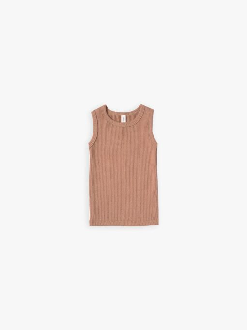 Quincy Mae Ribbed Tank in Terracotta