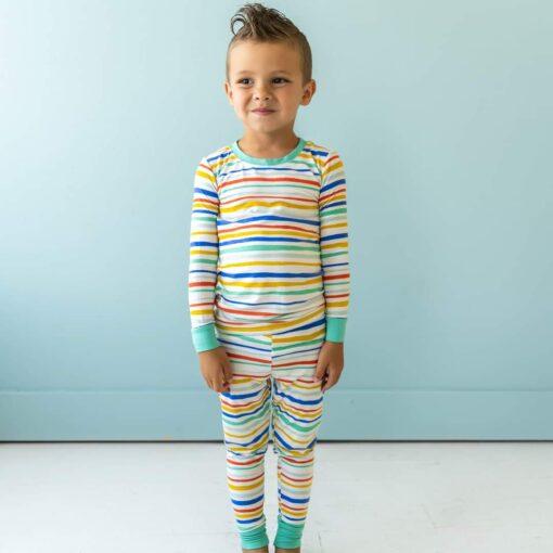 Little Sleepies Summer Stripe Bamboo Viscose Two-Piece Pajama Set