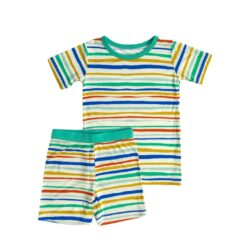 Little Sleepies Summer Stripe Short Sleeve and Shorts Bamboo Viscose Pajama Set