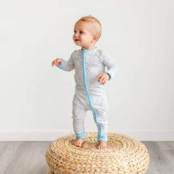 Little Sleepies Polka Dots Blue Trim Bamboo Convertible Zippy