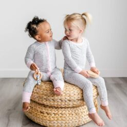 Little Sleepies Polka Dots Pink Trim Bamboo Convertible Zippy