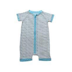 Little Sleepies Polka Dots Blue Trim Shorty Bamboo Viscose Zippy