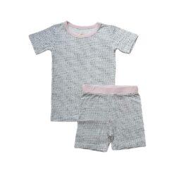 Little Sleepies Polka Dots with Pink Trim Short Sleeve and Shorts Bamboo Pajama Set