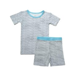 Little Sleepies Polka Dots with Blue Trim Short Sleeve and Shorts Bamboo Pajama Set