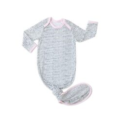 Little Sleepies Polka Dots Pink Trim Bamboo Infant Knotted Gown