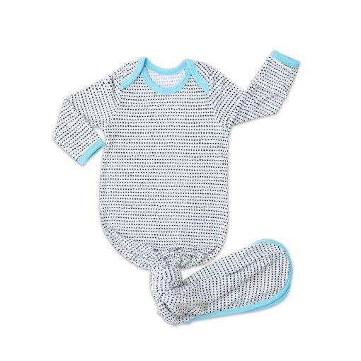 Little Sleepies Polka Dots Blue Trim Bamboo Infant Knotted Gown