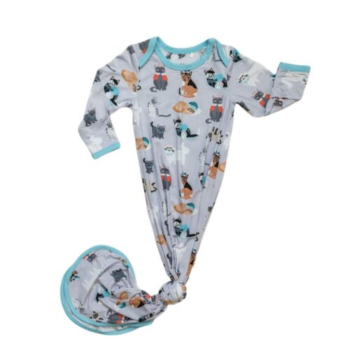 Little Sleepies Blue Cool Cats Bamboo Viscose Infant Knotted Gown