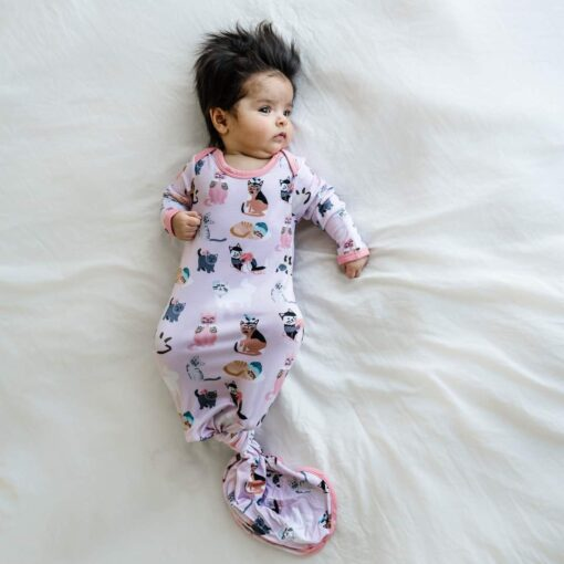 Little Sleepies Pink Cool Cats Bamboo Viscose Infant Knotted Gown