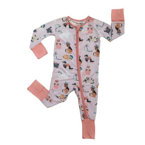 Little Sleepies Pink Cool Cats Bamboo Viscose Zippy