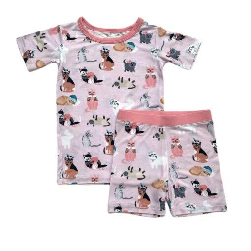 Little Sleepies Pink Cool Cats Short Sleeve and Shorts Bamboo Viscose Pajamas