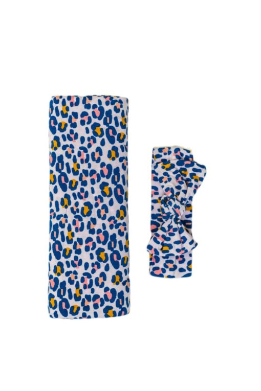 Little Sleepies Wild Leopard Bamboo Viscose Swaddle & Headband Set