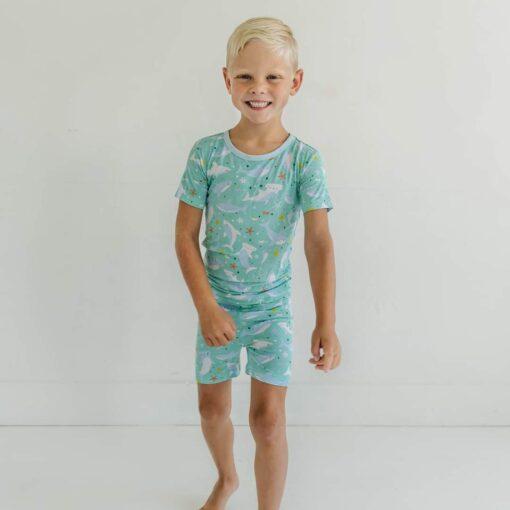 Little Sleepies Sharks Soiree Short Sleeve and Shorts Bamboo Viscose Pajamas