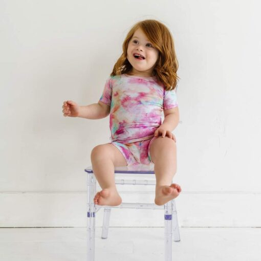 Little Sleepies Cotton Candy Tie Dye Short Sleeve and Shorts Bamboo Pajamas