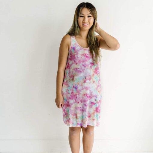 Little Sleepies Cotton Candy Tie Dye Women's Bamboo Tank Nightgown