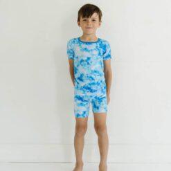 Little Sleepies Milk Way Tie Dye Short Sleeve and Shorts Bamboo Viscose Pajamas