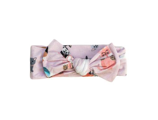 Little Sleepies Pink Cool Cats Bamboo Bow Headband