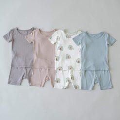 Kyte BABY Short Sleeve Toddler Pajama Set in Aloe Rainbow