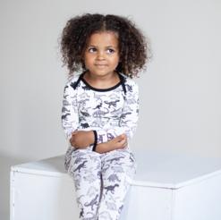 Peregrine Kidswear Bamboo White Dinosaur Pajama Set