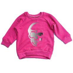 Portage and Main Skull Raglan Bamboo Sweatshirt in Bright Pink