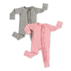 Little Sleepies Solid Ruffle Zippy Gift Box in Heather Gray and Bubblegum