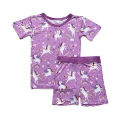 Little Sleepies Sienna's Unicorns Short Sleeve & Shorts Bamboo Viscose Pajamas