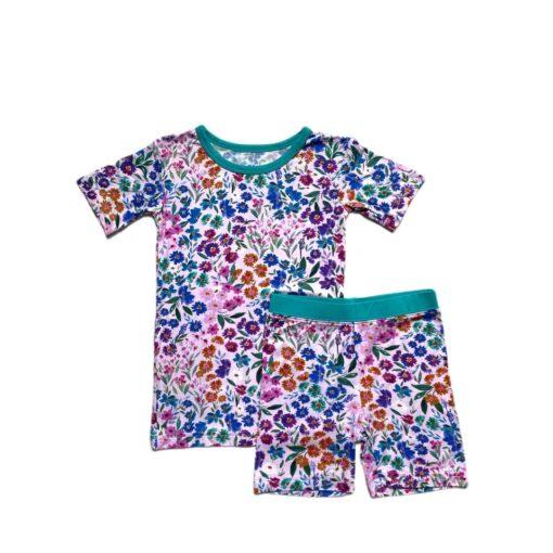 Little Sleepies Sweet Pea Floral Short Sleeve and Shorts Bamboo Viscose Pajamas