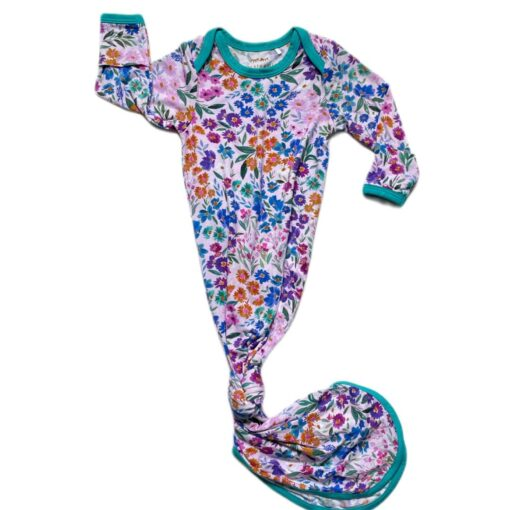 Little Sleepies Sweet Pea Floral Bamboo Viscose Infant Knotted Gown
