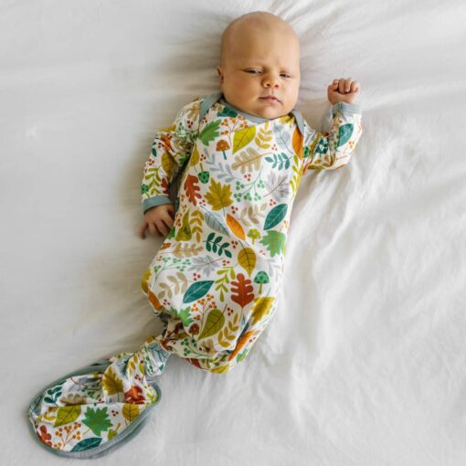 Little Sleepies Warm Taupe Fall Leaves Infant Knotted Gown