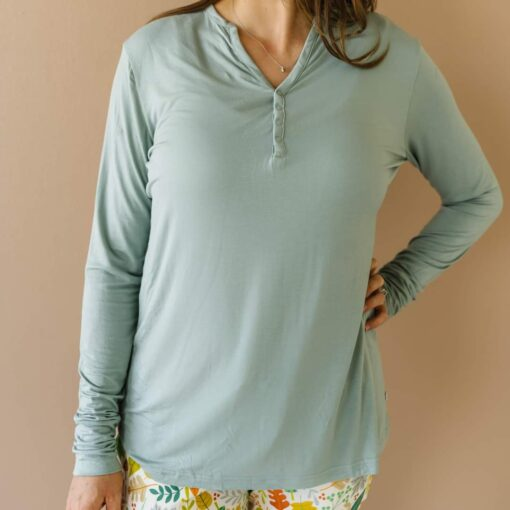 Little Sleepies Warm Taupe Fall Leaves Bamboo Women's Long Sleeve Top