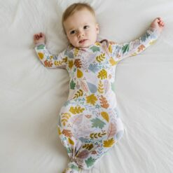 Little Sleepies Dusty Mauve Fall Leaves Bamboo Viscose Infant Knotted Gown