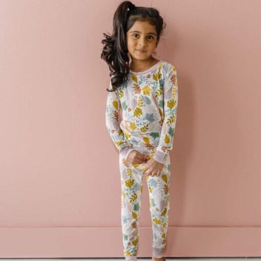 Little Sleepies Dusty Mauve Fall Leaves Two-Piece Bamboo Viscose Pajama Set
