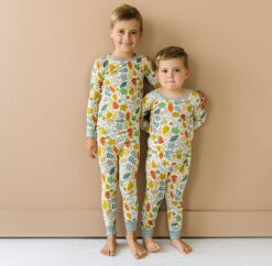 Little Sleepies Warm Taupe Fall Leaves Two-Piece Bamboo Viscose Pajama Set