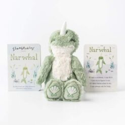 Slumberkins Narwhal Kin and Board Book Set for Growth Mindset
