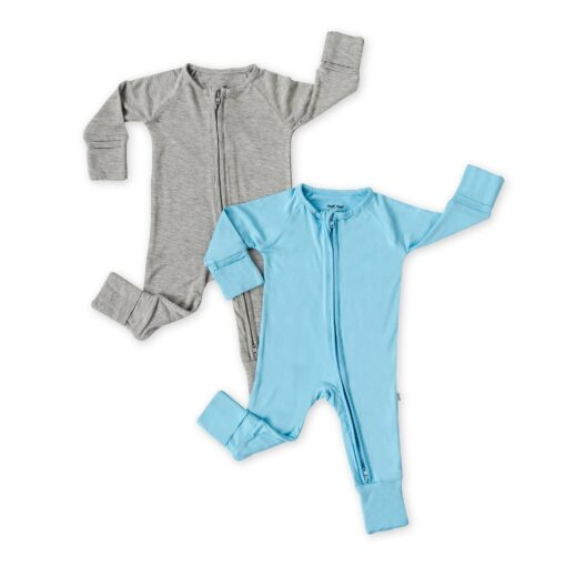 Little Sleepies Solid Zippy Two-Pack Gift Box in Blue and Heather Gray