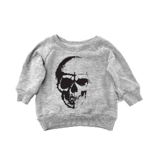 Portage and Main Skull Raglan Bamboo Sweatshirt in Grey
