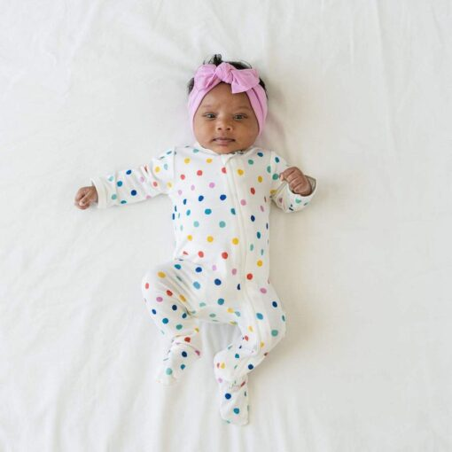 Kyte BABY Zippered Footie in Polka Dots