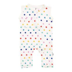 Kyte BABY Zippered Sleeveless Romper in Polka Dots