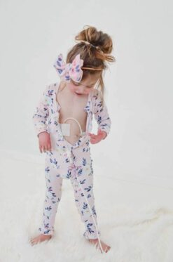 Laree + Co Maggie Floral Bamboo Ruffle Romper