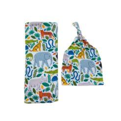 Little Sleepies Jungle Safari Swaddle & Headband Set