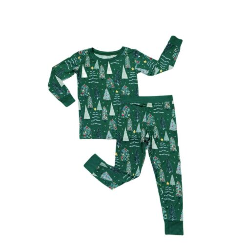 Little Sleepies Green Twinkling Trees Two-Piece Bamboo Viscose Pajama Set